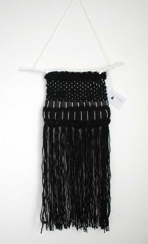 Monochrome leather and wool weaving