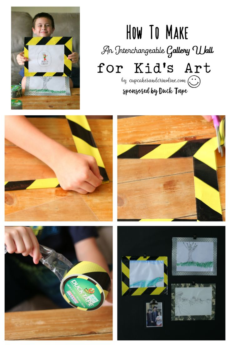 How to Make an interchangeable gallery wall for kid's artwork with Duck Tape  [ad]