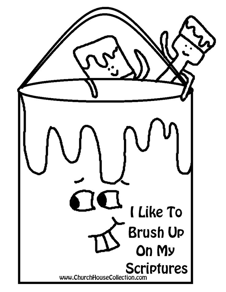 Paint Can and Paint Brush Up on your scriptures Printable Template For Kids.png (816×1056)
