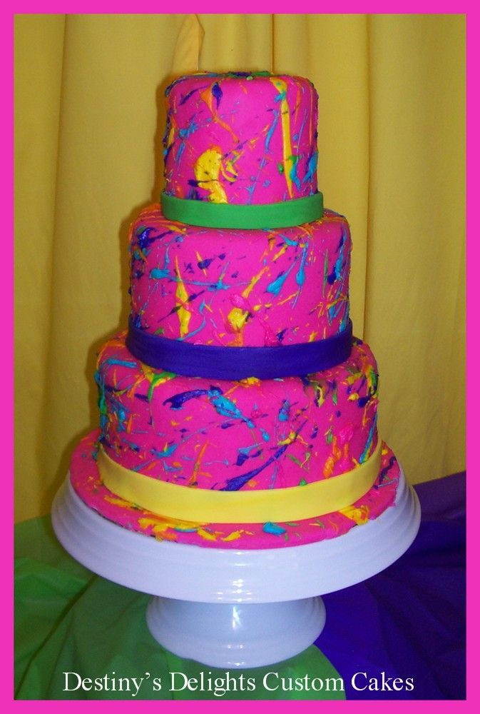 Paint Splatter Fun Birthday Cake With Fondant Bow