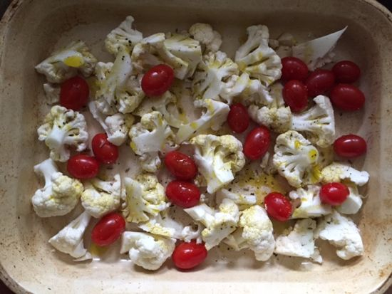 Last night I pulled out some old cauliflower and knew it had to be used immediately, or tossed.  I trimmed it, cut the florets into smaller pieces, and added some cherry tomatoes into the pan. I added some course salt, black pepper, and a couple of pinches of cumin. Then I drizzled it with some …