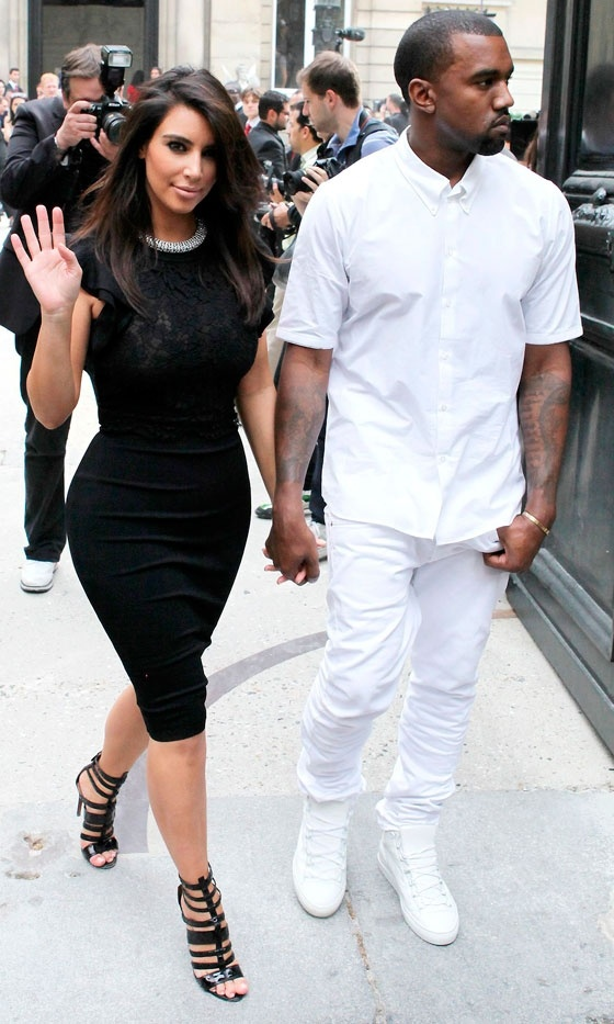 Kim Kardashian And Kanye West At Couture Fashion Week, 2012: Kanye West, Kim Kardashian, Kardashian Style, Black Dresses, Cute Shoes, Outfit, Tools Kimkardashian, Kardashian Kim, The Dresses