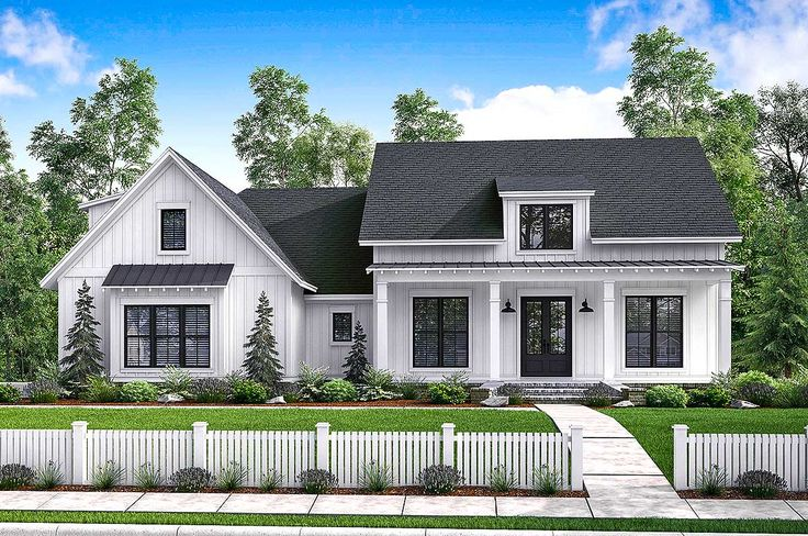<ul><li>There's no shortage of curb appeal for this beautiful 3 bedroom modern farmhouse plan with bonus room and bath (giving you potentially 4 bedrooms).</li><li>The beautiful formal entry and dining room open into a large open living area with raised ceilings and brick accent wall.</li><li>The spacious kitchen has views to the rear porch and features an island with eating bar as well as a large pantry.