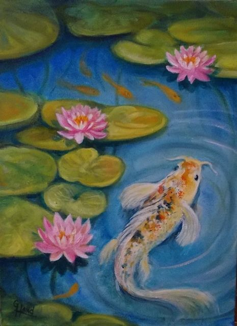 Fish Pond #1..oil painting by ....Greg Hand....I saw some  Fish pictures that I like and thought I would try some of my own.