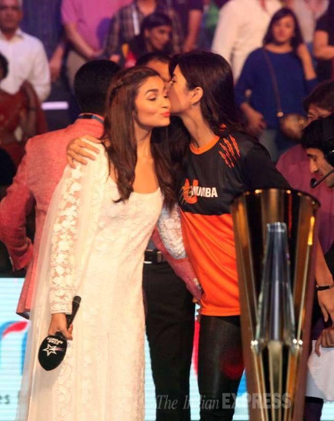 Alia Bhatt and Katrina Kaif met up with kisses at the #ProKabaddi league finals in Mumbai. #Bollywood #Fashion #Style #Beauty