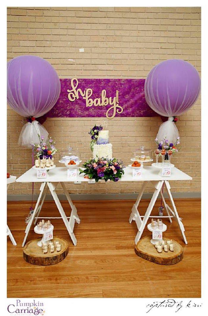 dessert table from an elegant floral baby shower via kara
