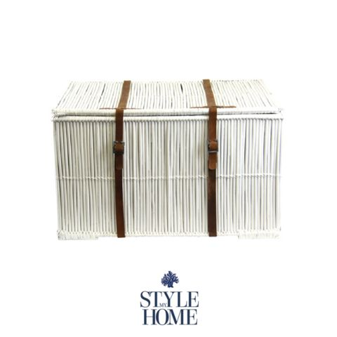 White Rattan Trunk with Brown Leather Strap Detail
