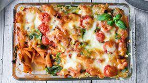 Grateng: Pastagrateng med ost og tomat