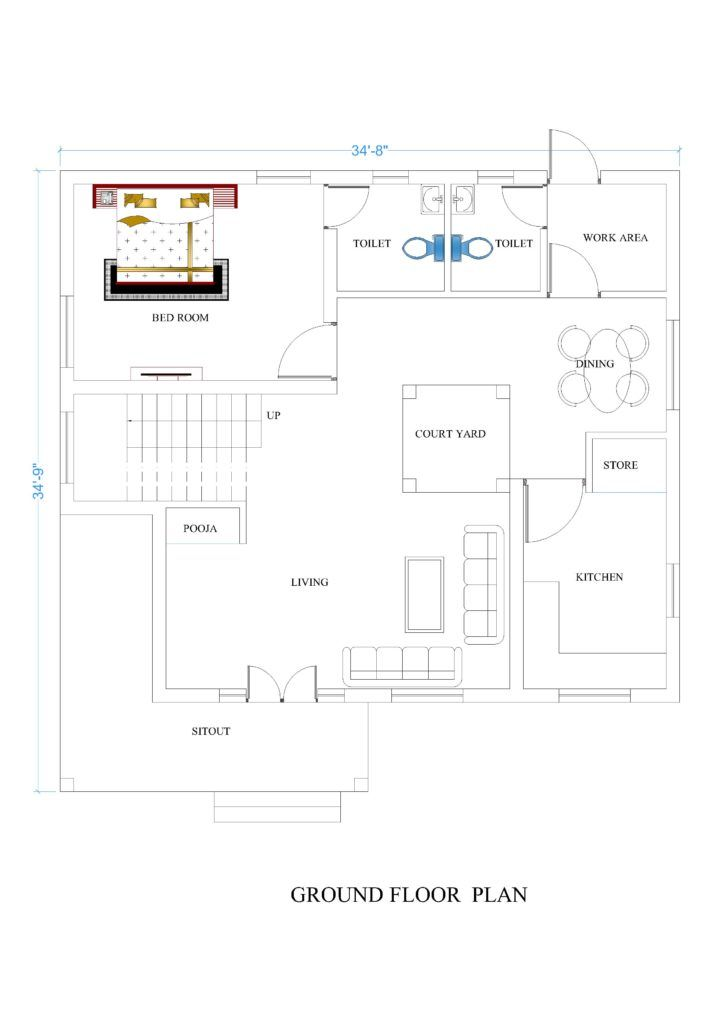 34x34 House Plans For Your Dream House House Plans Dream House Drawing New House Plans Affordable House Plans