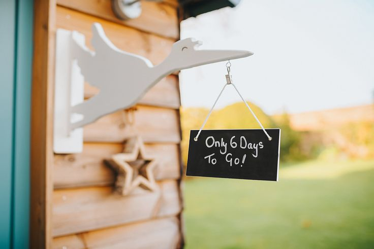 Only 6 Days to go! You can customise the blackboard reverse of the 'waiting for our new baby' sign as the birth draws closer. We also think it would be lovely to write the name, date of birth and weight of your baby, and hang the stork in the nursery.