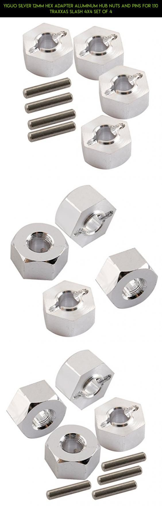 Yiguo Silver 12mm Hex Adapter Aluminum Hub Nuts and Pins for 1:10 Traxxas Slash 4X4 Set of 4 #gadgets #shopping #tech #racing #4x4 #fpv #parts #plans #products #technology #wltoys #kit #drone #camera