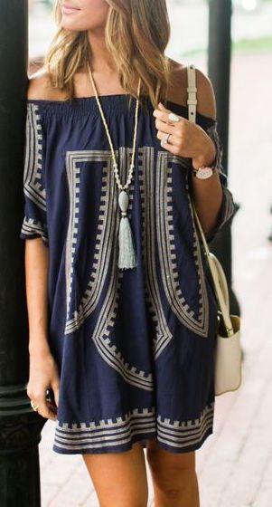 #summer #fashion / print off-the-shoulder dress