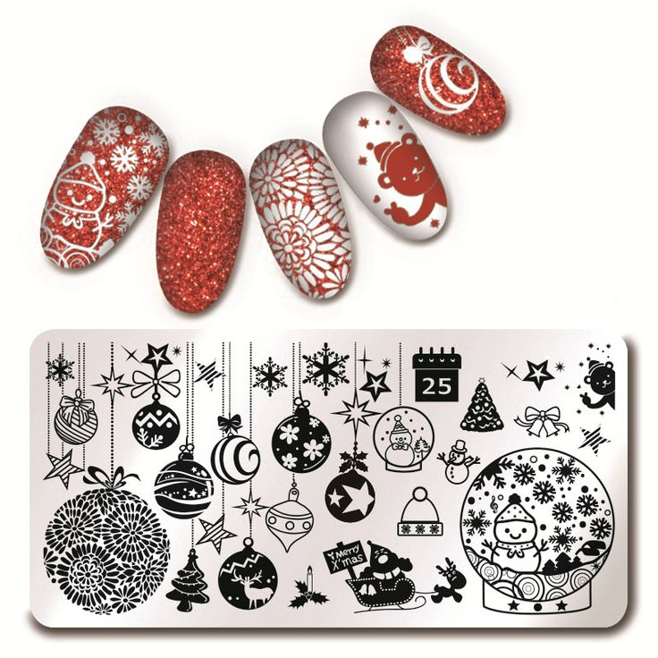 1Pc Nail Art Stamping Template Christmas Theme Snowflake Xmas Wave Line Floral N…