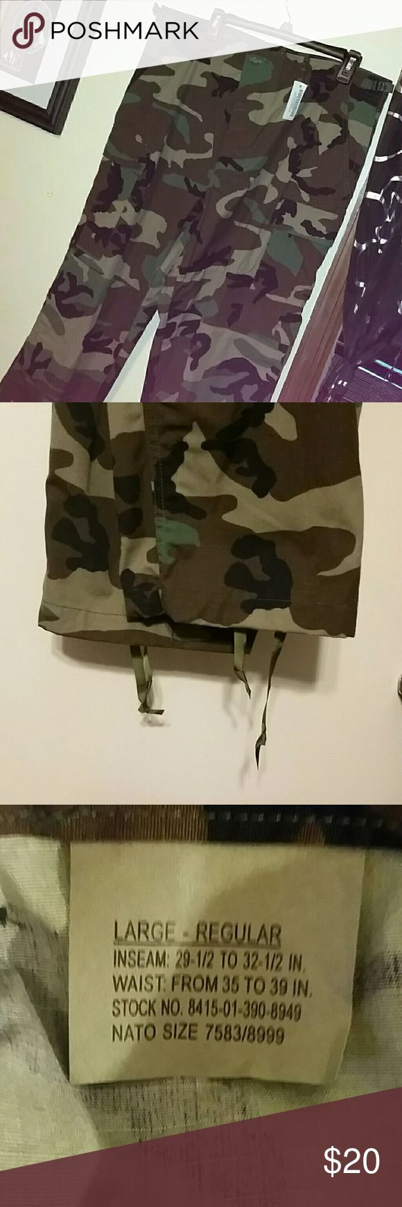Army Camo Cargos NWT army camo cargos size Large Regular (see pic #3) w/button fly & ankle ties Pants Cargo