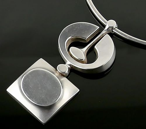 Jorma Laine Modernist Silver Necklace Finland 1972