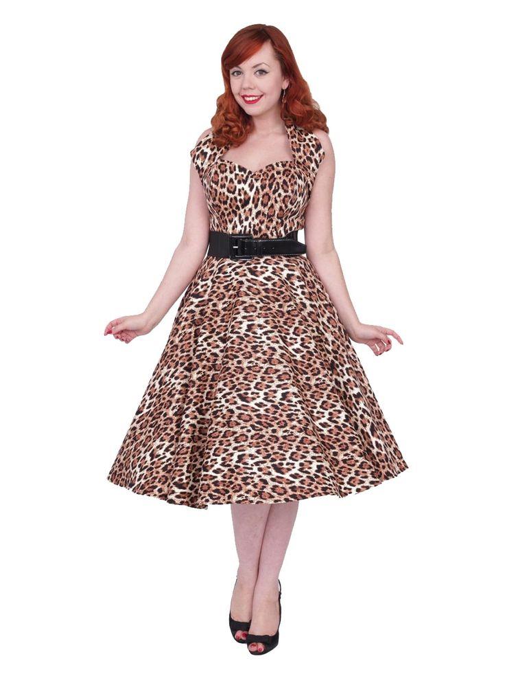 50s-1950s-Vivien-of-Holloway-Best-Vintage-Reproduction-Halterneck-Circle-Dress-Brown-Leopard-Animal-Print-Rockabilly-Swing-Pinup