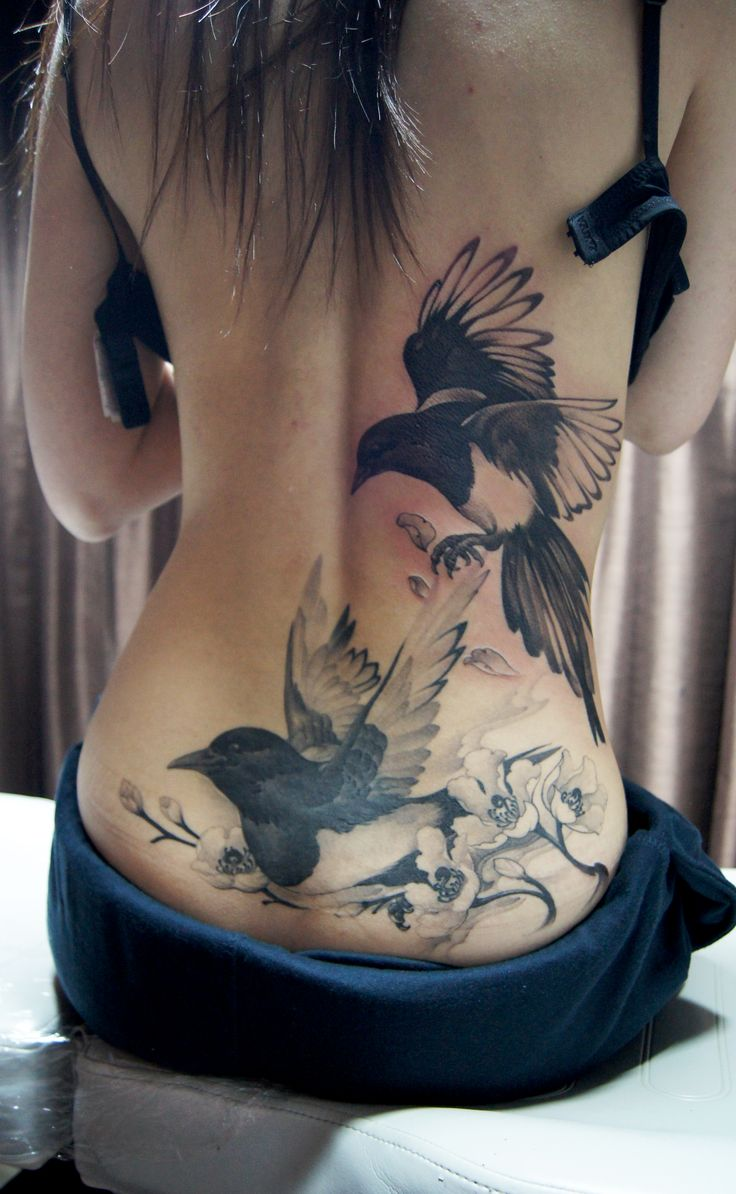 Lower back Magpie and Cherry blossoms tattoo - Chronic Ink