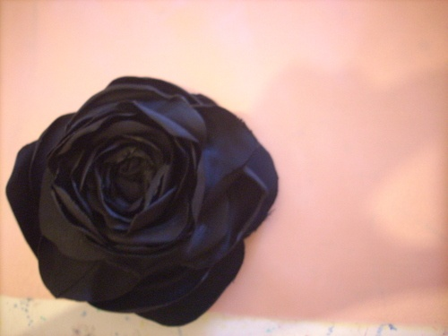 Rosa nera per capelli *raso lucido* - Black Rose Hair * satin *