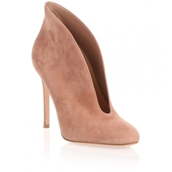 Gianvito Rossi Dark nude suede Vamp bootie ($850) ❤ liked on Polyvore featuring shoes, boots, ankle booties, beige, high heel booties, suede booties, suede ankle boots, suede boots and short boots