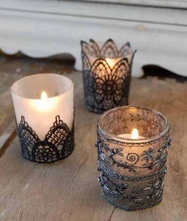 Halloween decorations style over spookiness wedding for Homemade votive candles