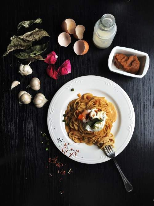 Miso butter spaghetti with poached egg