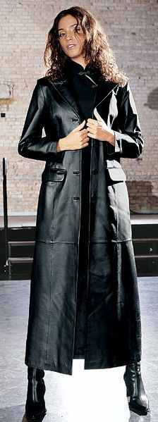 Long black leather trench coat