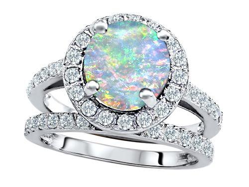 original star k 8mm round created opal engagement wedding set - Opal Wedding Ring Sets