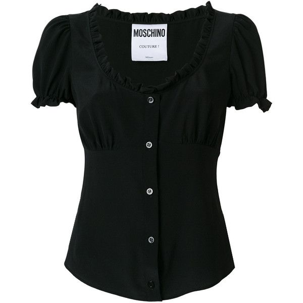 Moschino ruffled corset blouse ($650) ❤ liked on Polyvore featuring tops, blouses, black, corset blouse, banded waist tops, flounce blouse, tailoring blouse and ruffle blouse