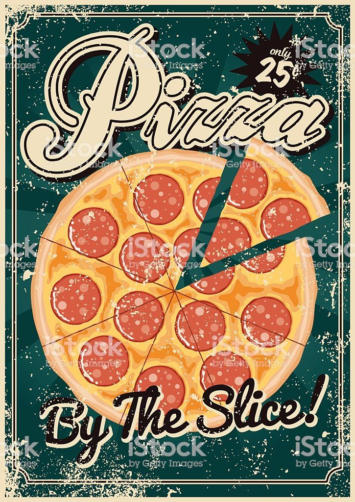 A Vintage Styled Pizza Poster With A Screen Printed Texture The