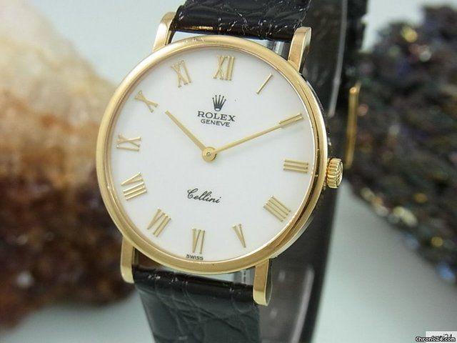 Rolex Cellini 5112 Handaufzug 18k / 750 Gold Dornschließe Saphir Glas Herrenuhr