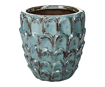 Macetero de cer mica azul proyecto macetas maceteros for Jardineras de ceramica
