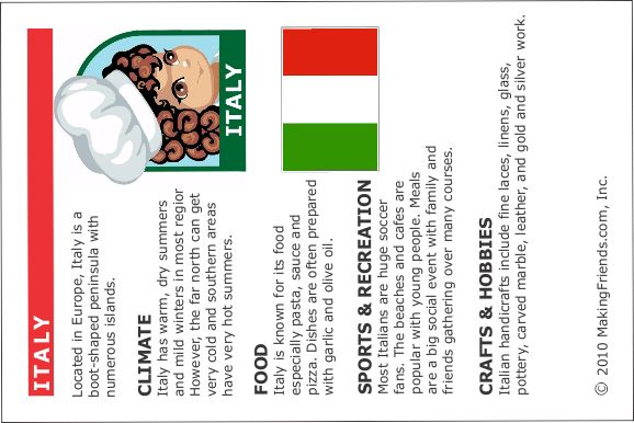 Italy fact cards - we could attach our swaps to this card