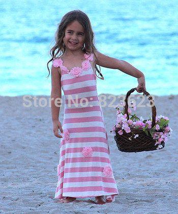 Эбби рыба лето 2 8Y девочка clothings, Малыш девочки в полоску и цветы дутый макси пляж розовый платье принцесса одежда купить на AliExpress