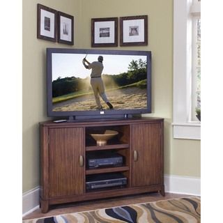 @Overstock - A corner TV stand by Home Styles is the space-saving solution for small or oddly configured rooms that require you to place the television in a corner. The stand fits TVs up to 46 inches, so you dont have to sacrifice size because of space issues.http://www.overstock.com/Home-Garden/Home-Styles-Paris-Corner-TV-Stand/6345654/product.html?CID=214117 $262.96