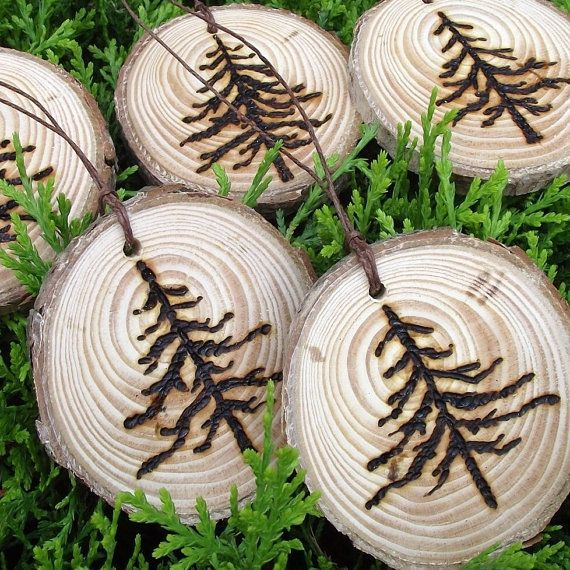 5 Rustic Wood Burned Pine Tree Branch Gift by ARemarkYouMade - garland?
