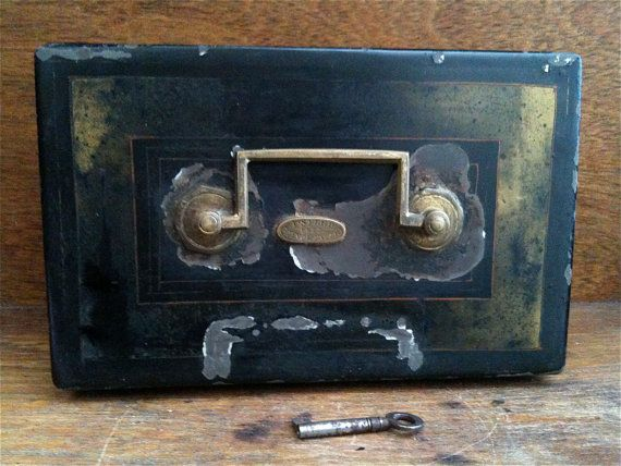 Antique English Money Safe Box with Working Key by EnglishShop, $215.00