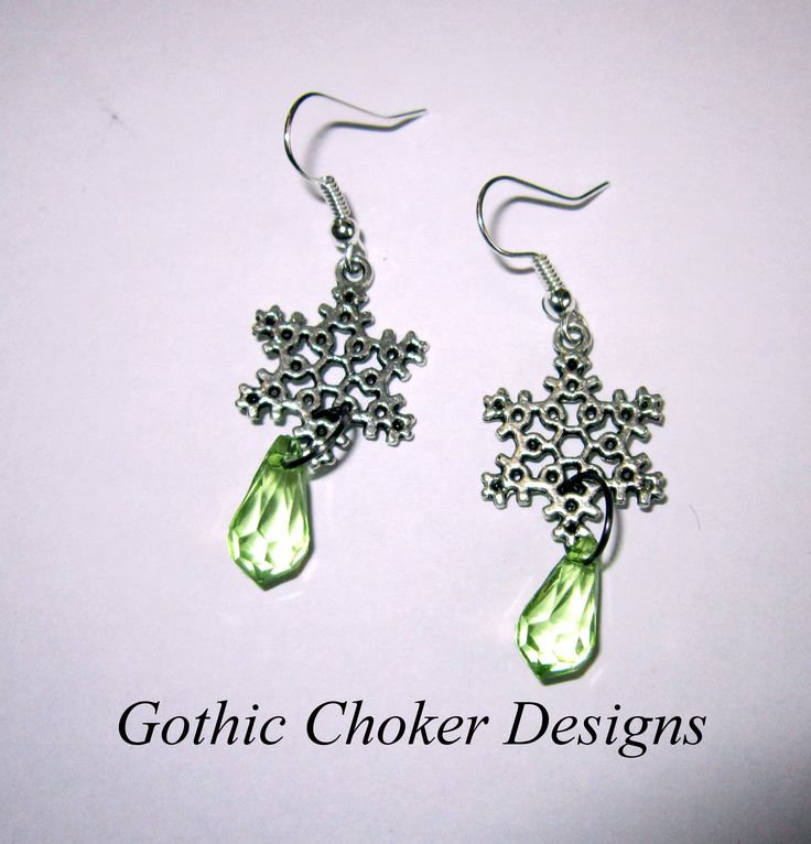 Snowflake and green crystal earrings. R50 approx $5.  Purchase here: https://hellopretty.co.za/gothic-choker-designs/snowflake-and-green-crystal-earrings-0