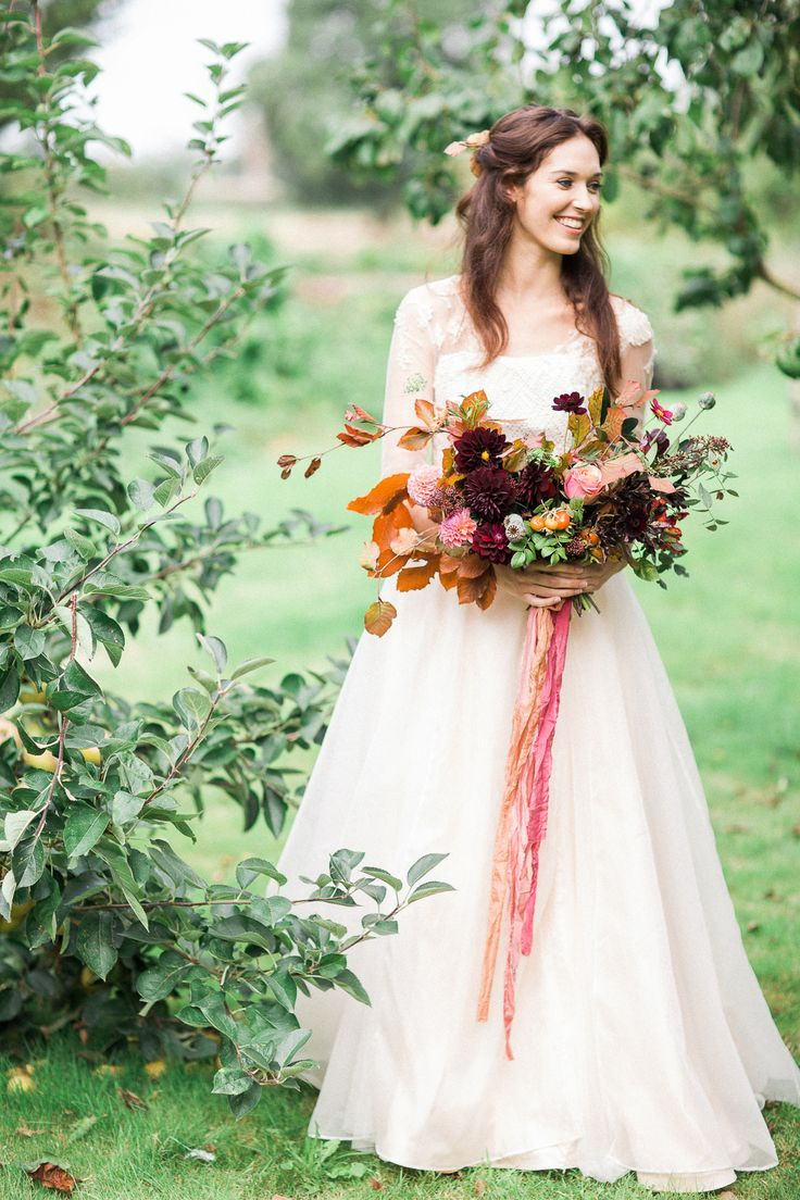 'Autumn Joy' bridal dress. Made from silk organza and knitted silk bodices and buttons.