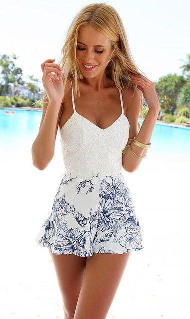38eb17af565 Summer Women Backless Short Jumpsuit Rompers Spaghetti Strap Playsuit Deep  V neck Bodysuit White Lace Floral Prints Rompers