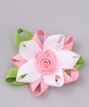 Take a look at this Sweet Treat Bows Pink & White Flower Clip by Sweet Treat Bows on #zulily today!