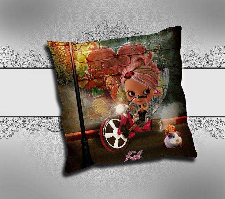 """Coussin """"La petite fille à bicyclettel"""" kali-créatrice-original création unique : Textiles et tapis par kali-creatrice-original"""