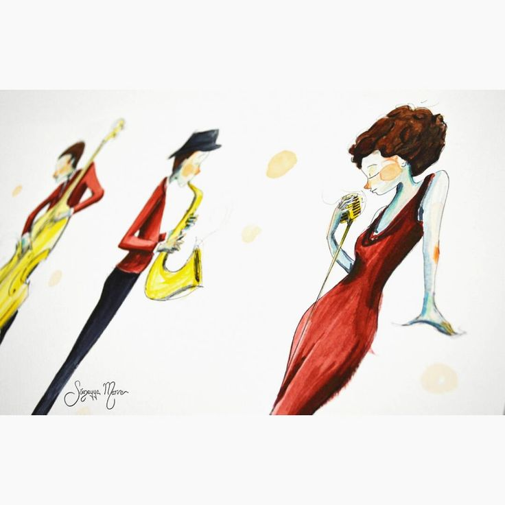 """O zaman detay.. #illustration #watercolor #suluboya #illüstrasyon #sketchbook #doodle #ciziyorum #boyuyorum #sketching #colors #blue #jazz #caz #music…"""