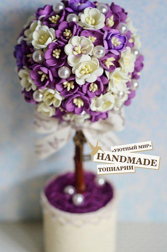 Топиарий Тайное желание выполнен из рукодельных цветов фоамиран японские матовые тычинки сливочно-ла... фото #6