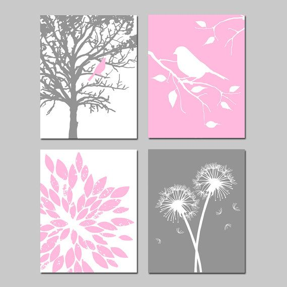 Baby Girl Nursery Art Quad - Set of Four 8x10 Prints - Bird in a Tree, Bird on a Branch, Dandelions, Abstract Floral - Light Pink, Gray on Etsy, $65.00