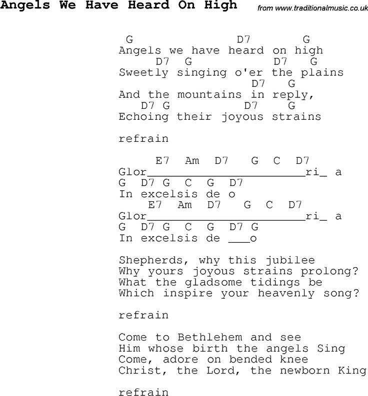 christmas songs and carols lyrics with chords for guitar banjo for angels we have heard on high. Black Bedroom Furniture Sets. Home Design Ideas