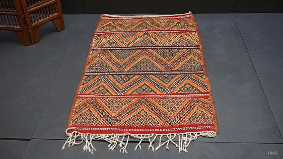 Medium Straw wool mat 3x6 Vintage African Mat Vintage Moroccan