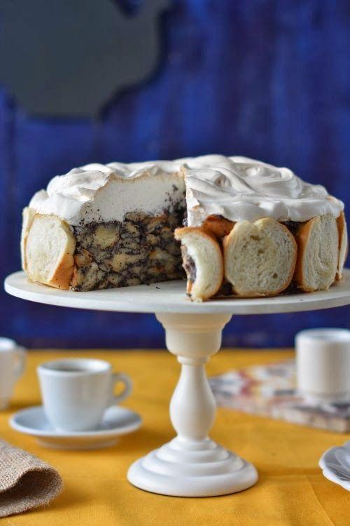 Mákos guba as cake. A Hungarian dessert with poppy seeds baked as a cake.