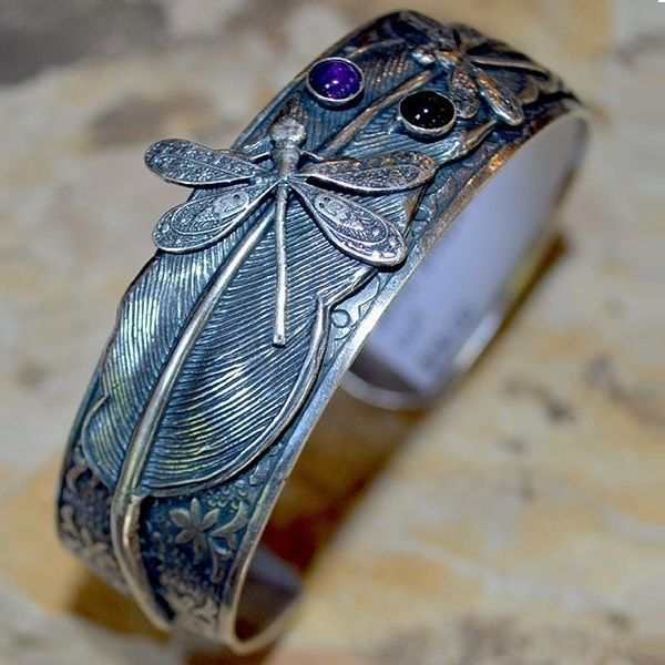 Dragonflies on a Feather Cuff Bracelet | Elaine Coyne Jewelry