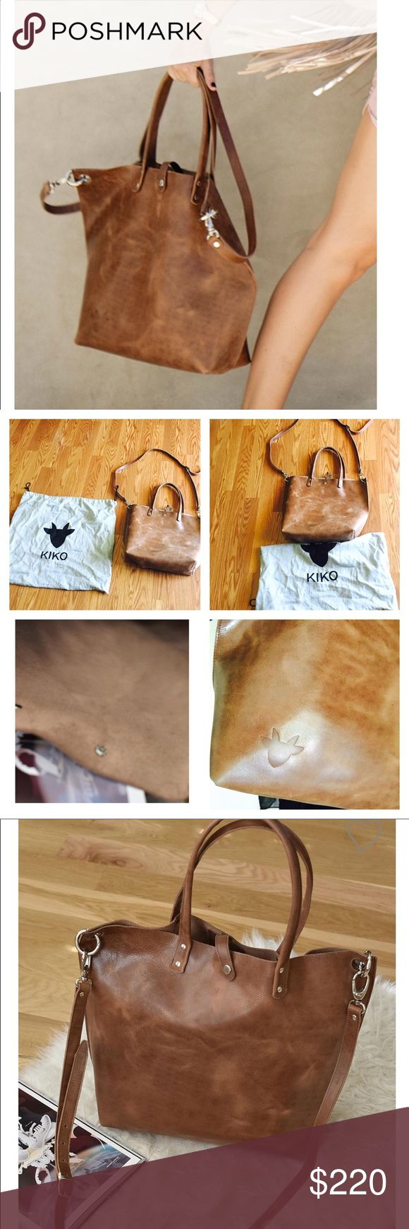 NWOT Genuine leather bag by KIKO, paseo tote NWOT the paseo tote is made with smooth, warm caramel colored Genuine leather, on the body, top closet and strap for a cohesive style. Interior is unlined and straps are removable, made by KIKO kiko Bags Totes