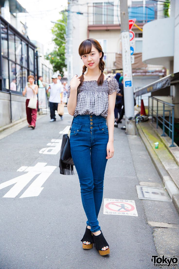 nanako niimi.s sex Harajuku Girl w/ Twin Braids in Trendy Denim & Gingham Street Style